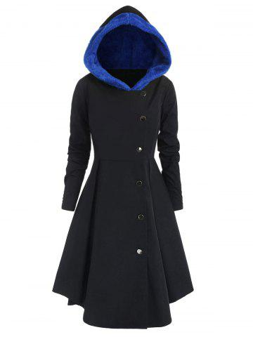 Plus Size Contrast Asymmetric Hooded Skirted Trench Coat - BLACK - 2X