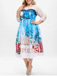 Plus Size Sheer Lace Christmas Ball Gown Dress -