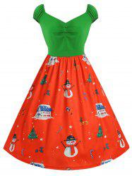 Cap Sleeve Plus Size Christmas Print Vintage Dress -