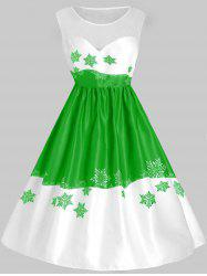 Plus Size Vintage Mesh Snowflake Christmas Flare Dress -