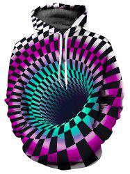 3D Swirl Checked Print Pullover Hoodie -