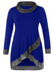 Cowl Neck Thread Plus Size Tunic Top -