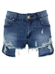 Asymmetric Distressed Zip Fly Denim Shorts -