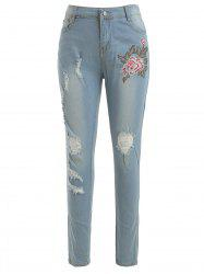 Floral Embroidered Skinny Ripped Jeans -