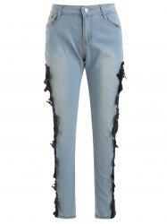 Lace Panel Skinny Jeans -