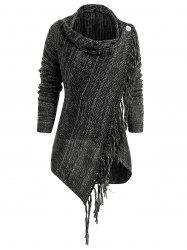 Asymmetrical Fringed Hem Cardigan -