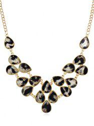 Rhinestoned Leopard Printed Clavicle Chain Necklace -