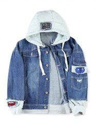 Faux Two Pieces Letter Number Applique Hoodie Jacket -