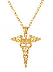 Wings and Snake Printed Metal Necklace -