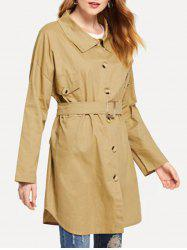 Single Breasted  Drop Shoulder Trench Coat -