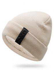 Winter Label Solid Color Flanging Knitted Beanie -