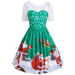Vintage Lace Insert Santa Claus Print Christmas Dress -