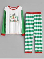 Plus Size Striped Christmas Pajamas Set -