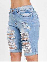 Ripped Knee Length Jean Shorts -
