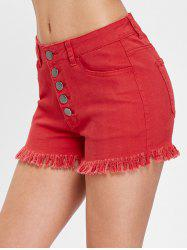 Button Fly Frayed Trim Jeans Shorts -