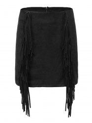 High Waisted Suede Fringed Mini Skirt -