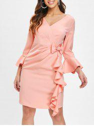 Flare Sleeve Bowknot Ruffle Dress -