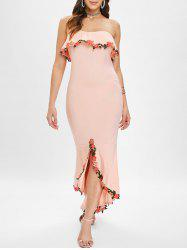Embroidered Trim Tube Long Mermaid Dress -