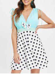 Bowknot Polka Dot Print Deep V Neck Dress -