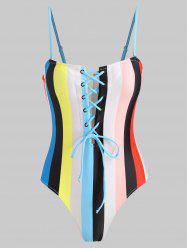 Lace Up Rainbow Color One Piece Swimsuit -