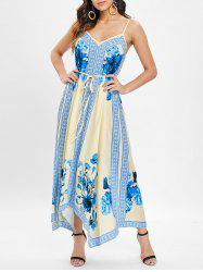 Ethnic Print Asymmetrical Maxi Dress -