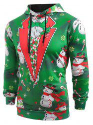 Faux Collar Snowmen Candy Printed Christmas Hoodie -