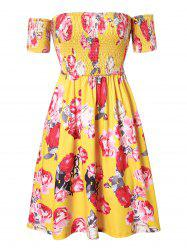 Plus Size Off Shoulder Smocked Floral Flare Dress -