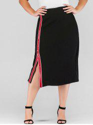 Plus Size High Waisted Slit Skirt with Sequined Ribbons -