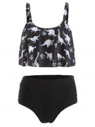 Dinosaur Print Ruched High Waist Bikini Set -