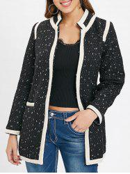 Color Trim Single Breasted Tweed Coat -