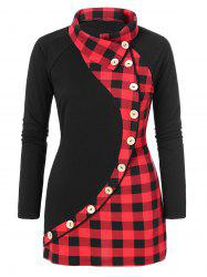 Plaid Print Plus Size Button Embellished T-shirt -