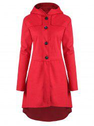 Plus Size High Low Hooded Coat with Button Fly -
