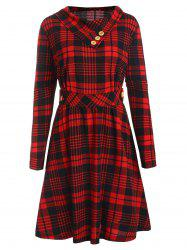 Plus Size Long Sleeves Plaid Flare Dress with Buttons -