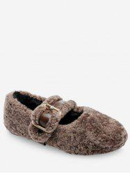 Faux Fur Buckled Flat Shoes -