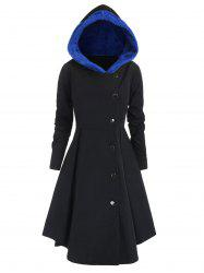 Plus Size Contrast Asymmetric Hooded Skirted Coat -