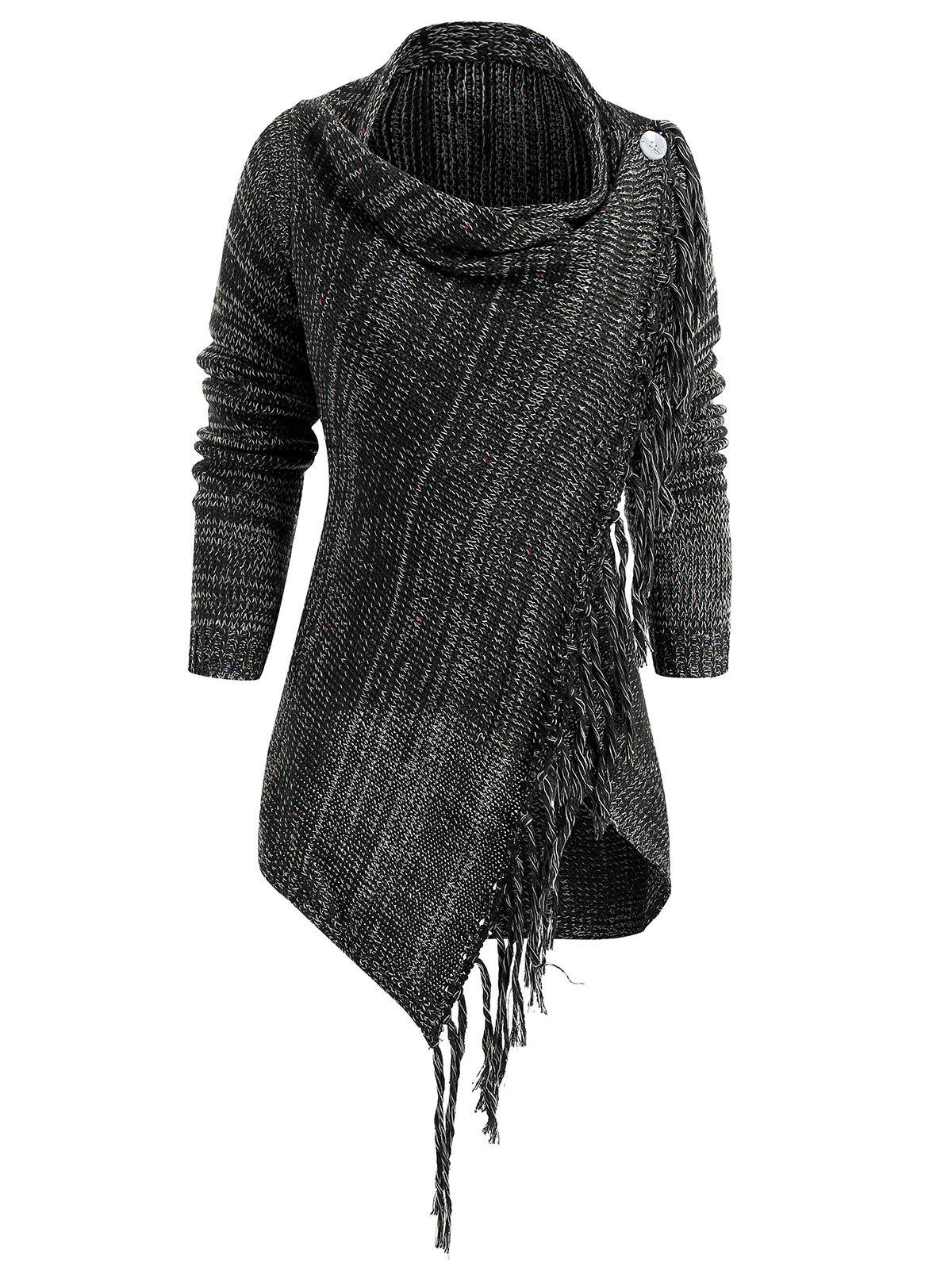 Best Asymmetrical Fringed Hem Cardigan