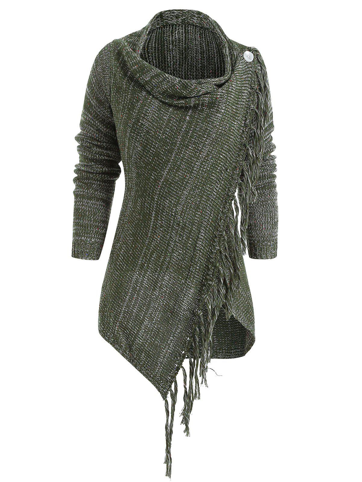 New Asymmetrical Fringed Hem Cardigan