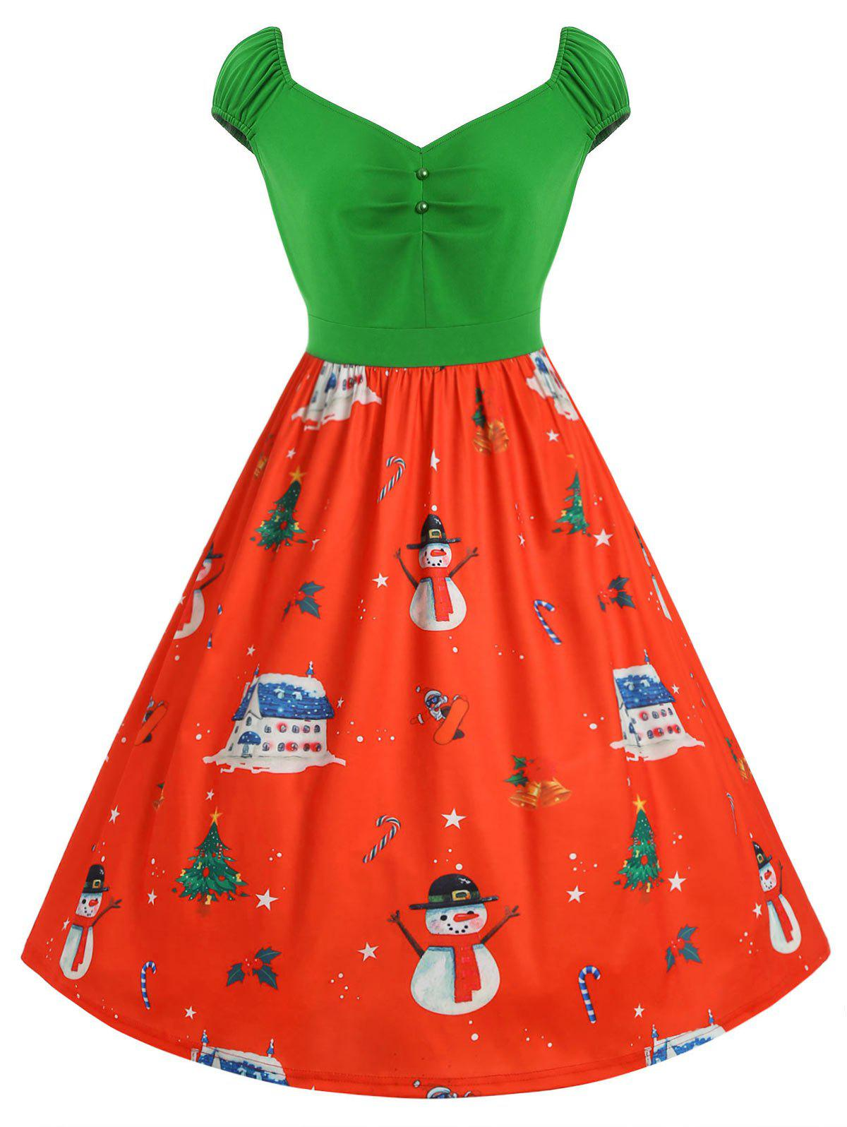 Shop Cap Sleeve Plus Size Christmas Print Vintage Dress