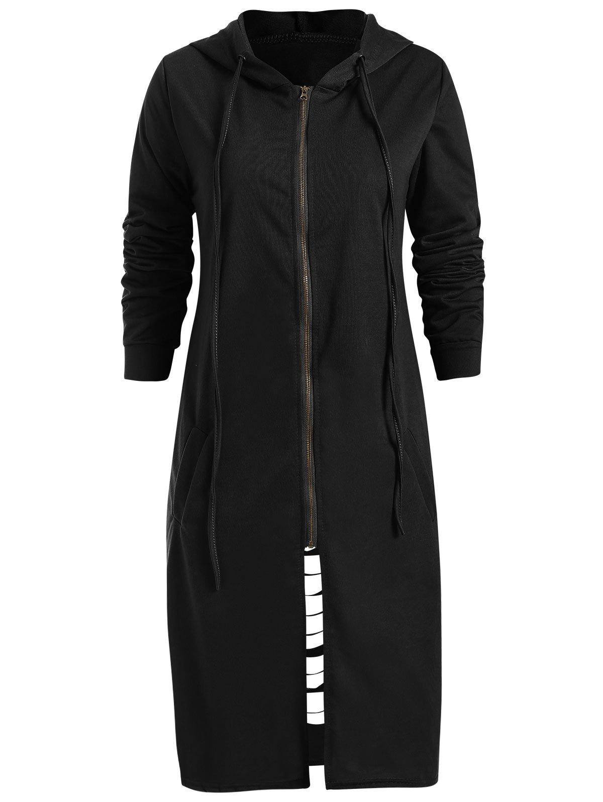 New Cut Out Hooded Long Sleeve Coat