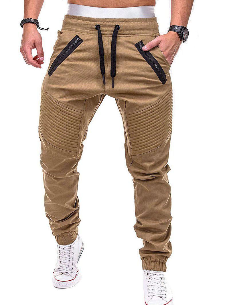 New Faux Back Pocket Zipper Decorated Jogger Pants