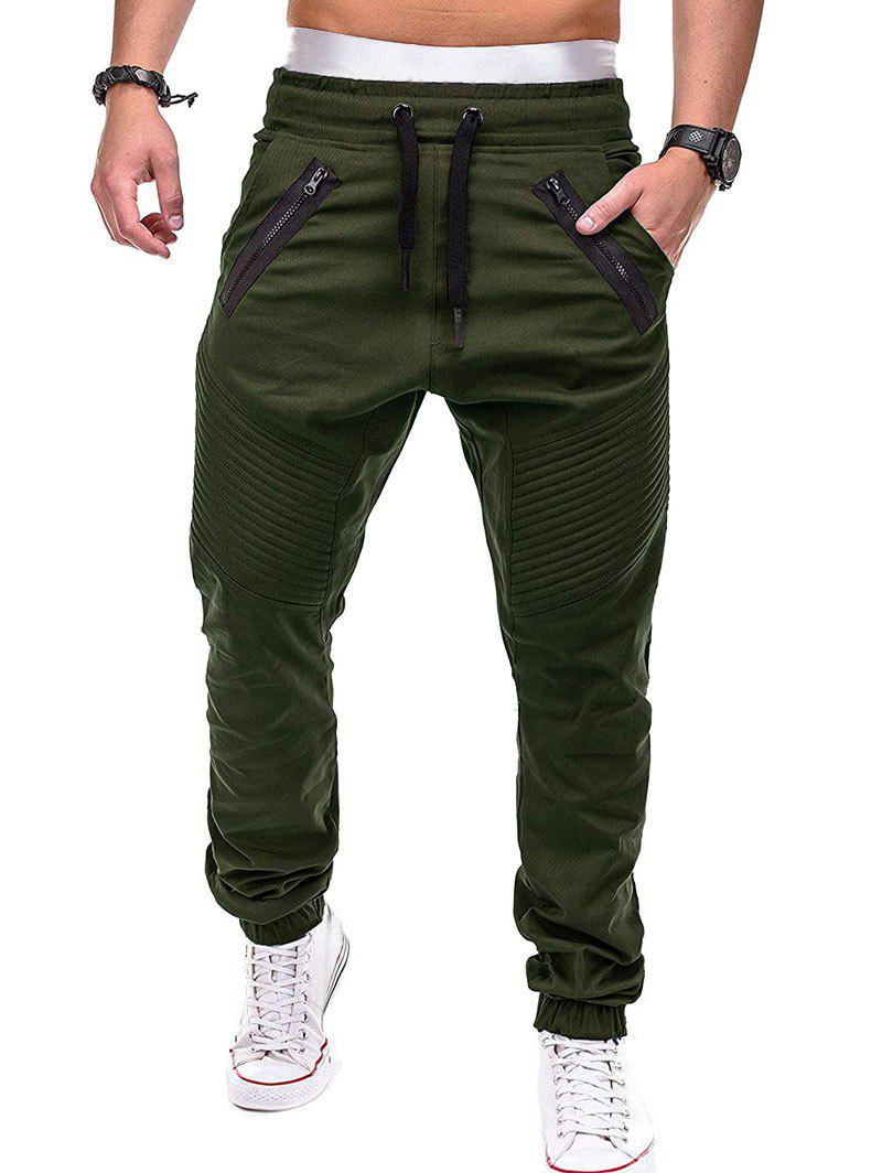 Chic Faux Back Pocket Zipper Decorated Jogger Pants