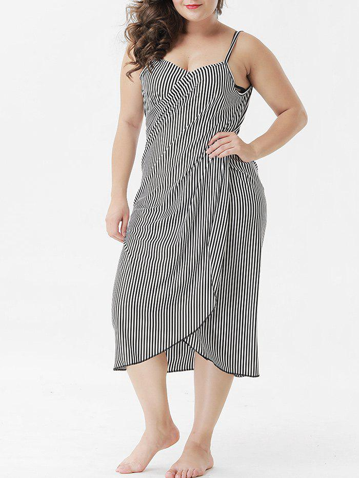Chic Plus Size Striped Cover Up Dress