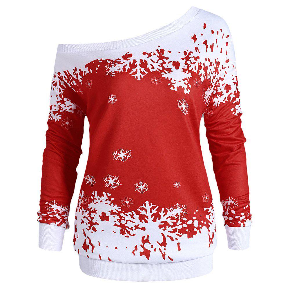 Best Plus Size One Shoulder Snowflake Christmas Sweatshirt