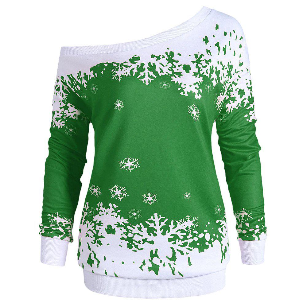 Shops Plus Size One Shoulder Snowflake Christmas Sweatshirt
