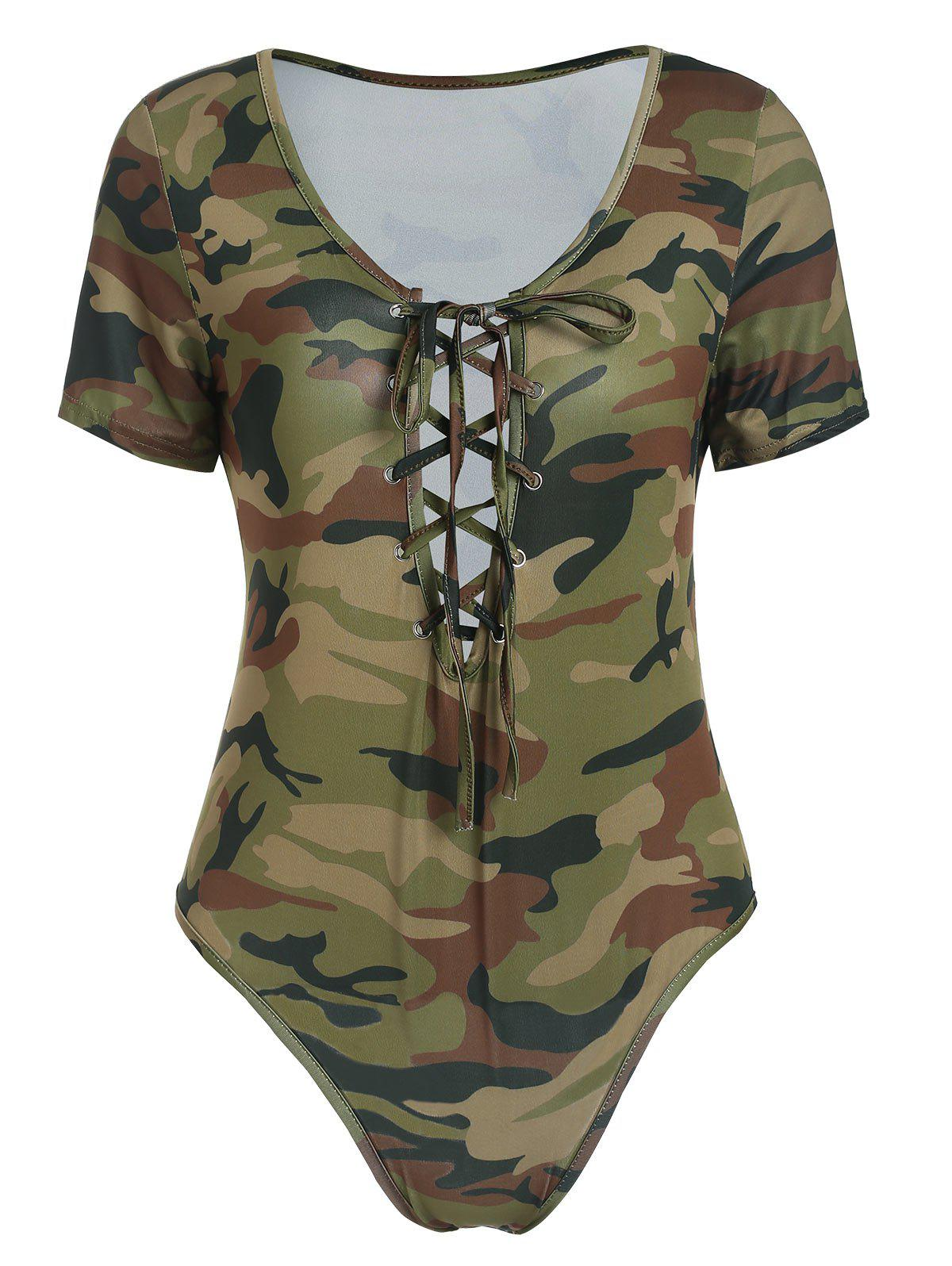 Outfits Lace Up Camo Bodysuit