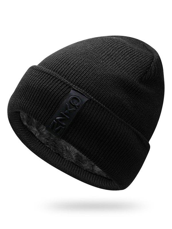Cheap Winter Label Solid Color Flanging Knitted Beanie