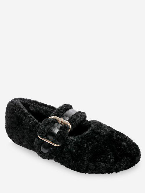 Cheap Faux Fur Buckled Flat Shoes