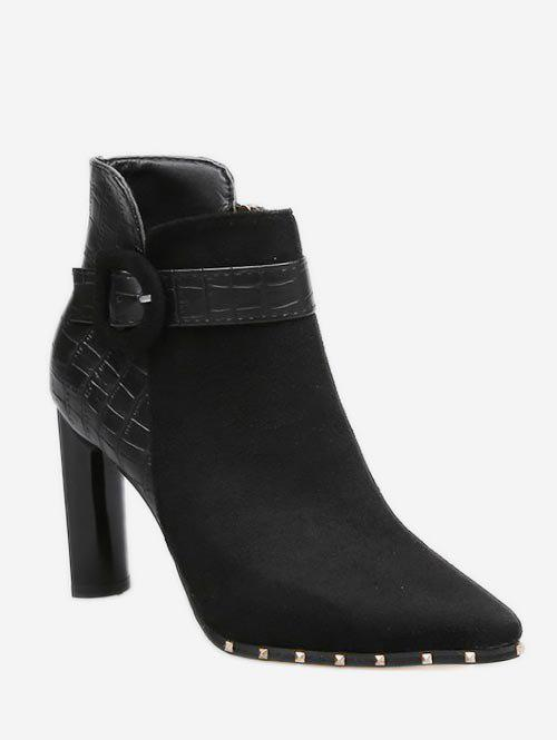 Affordable Contrast Pointed Toe Heeled Ankle Boots