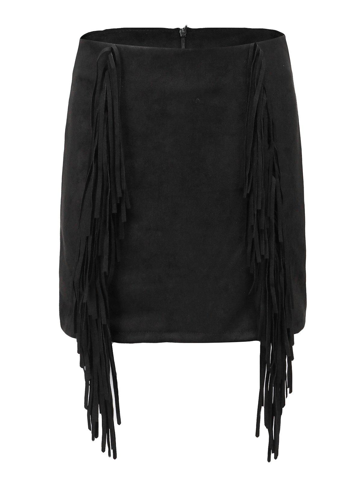 Latest High Waisted Suede Fringed Mini Skirt