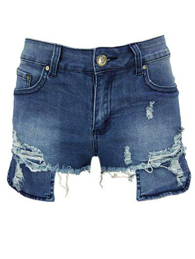 Fancy Asymmetric Distressed Zip Fly Denim Shorts